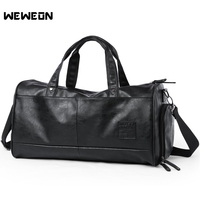 Men's PU Leather Sports Bag Gym Training Handbag for Fitness Durable Traveling Shoulder Sporting Bag Yoga Gym Tote for shoes