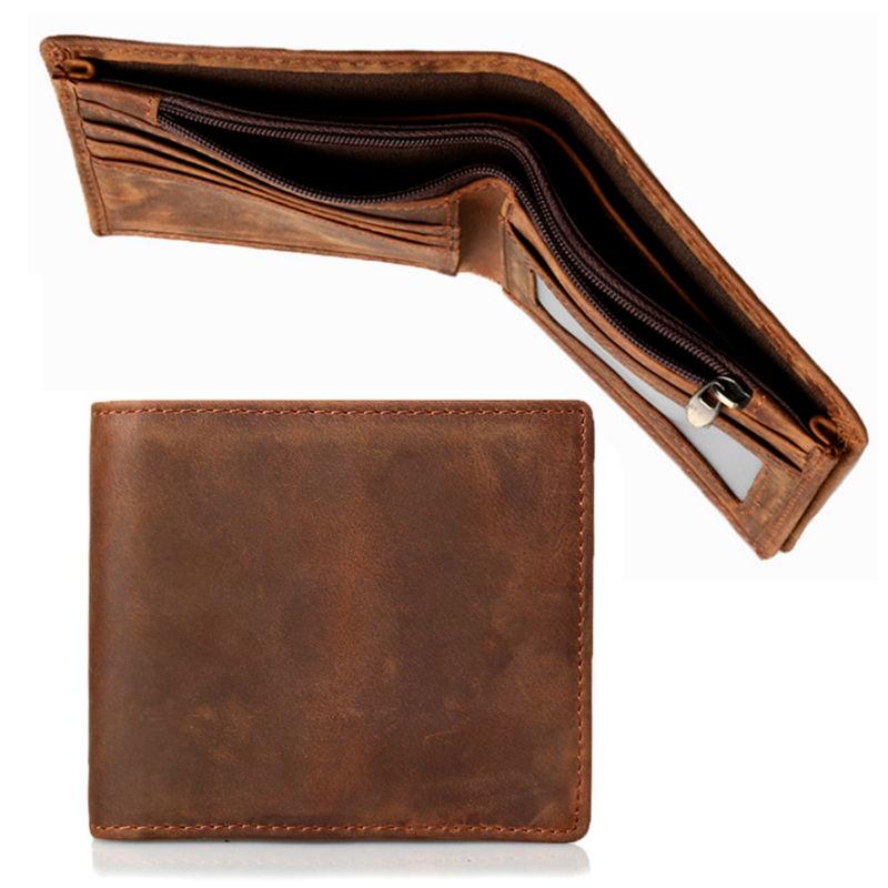 2017 New Design Retro Casual Men's Wallet  Vintage Genuine Leather Billfold Wallet Fashion Short Zipper Wallets Card Holder