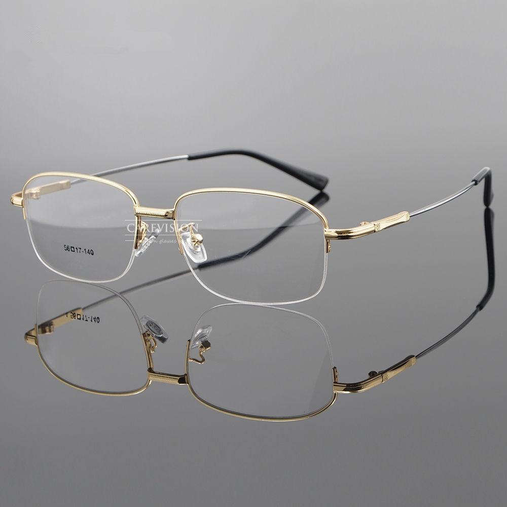 a4b4adfc63a6 Men s Half Rimless Flexible Metal Eyeglass Frames Myopia Rx able Eyewear  Glasses Spectacles
