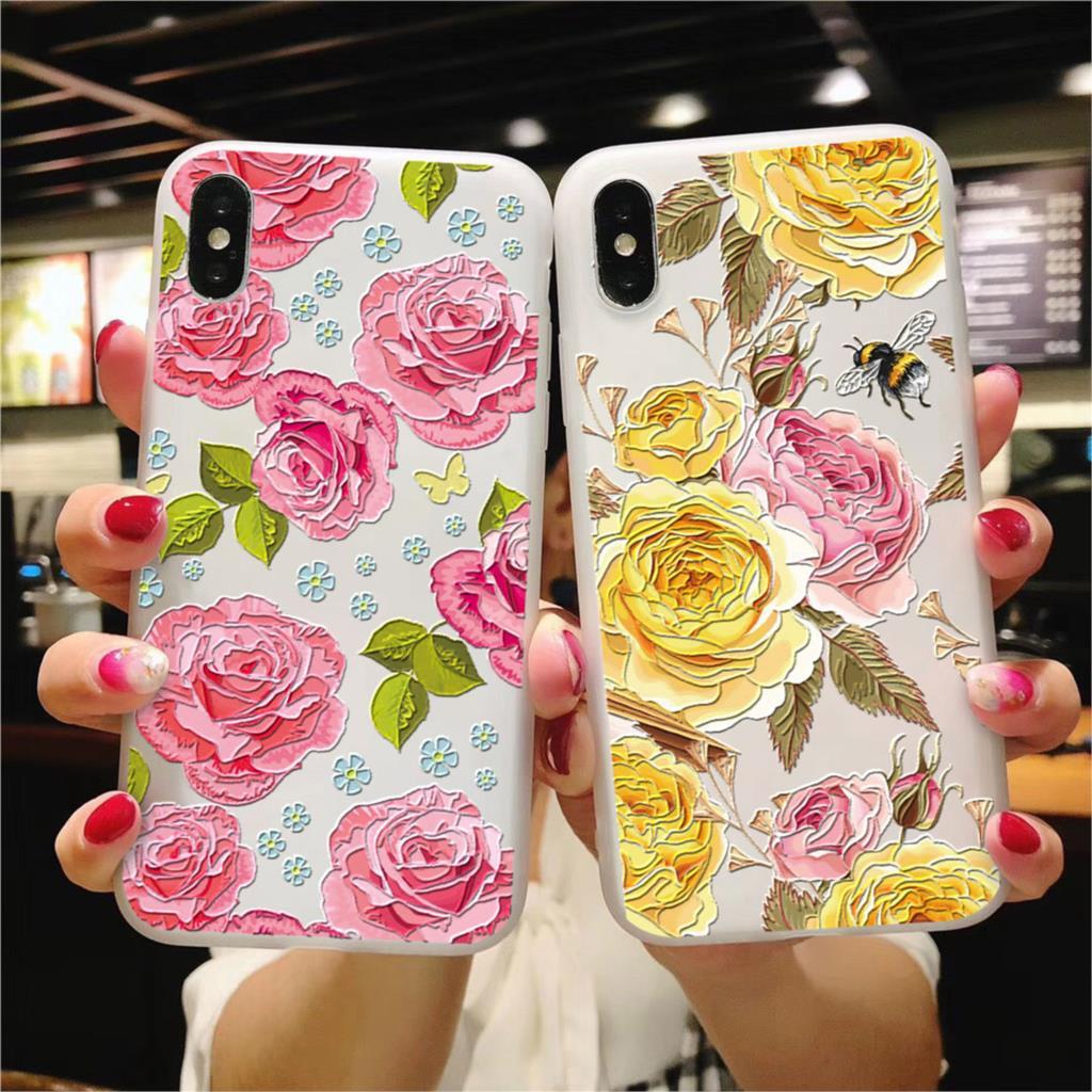 3D Emboss Matte Flower TPU For Huawei Honor View 20 8X 6A 10 7A Play 9 P Smart 2019 P30 P20 P9 P10 Pro Lite Mini 2017 Plus Case