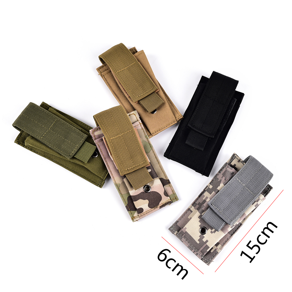 Candid New Knife Flashlight Sheath Bag Open Top Pouch Cartridge Bags Tactical Pouches Molle Clip Single Magazine Pouch Hunting