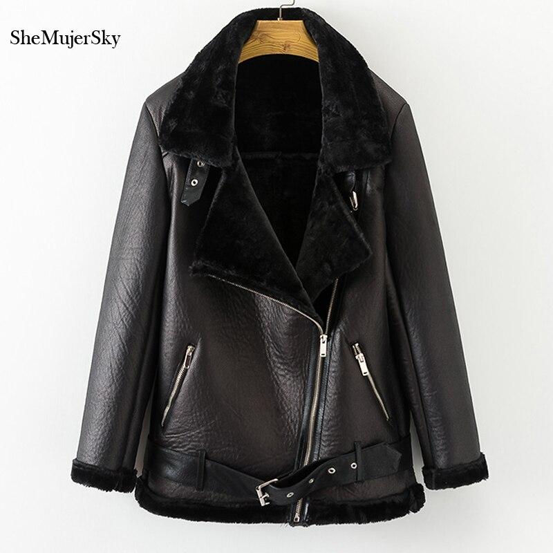 SheMujerSky Faux Fur Coat Winter Leather Jacket Thick Velvet Warm Women's Fur One Leather Bontjas Black Fourrure Femme