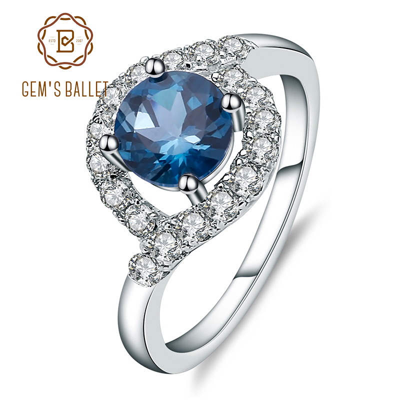 Gem's Ballet 1.66ct Natural London Blue Topaz Gemstone Rings 925 Sterling Silver Vintage Fine Jewelry For Women