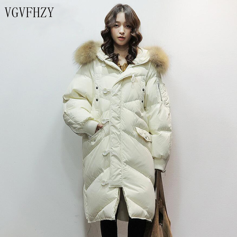 New Fashion 2018 winter Womens 90% white duck down jacket long down coat large real raccoon fur Hooded Parka Warm Thick Outwear