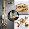 Classic Antique Brass Rainfall 8 Shower Faucet Set Wall Mounted Single Handle Bathroom Shower With Tub