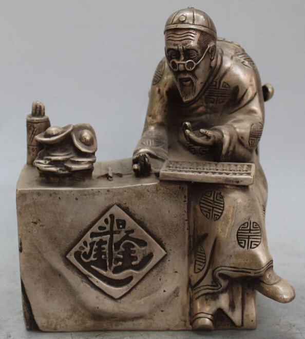 16CM Marked China Silver Wealth YuanBao RiJinDouJin Old Man Abacus Bronze Statue R0707 Discount 35% statue statue bronze statue china - title=