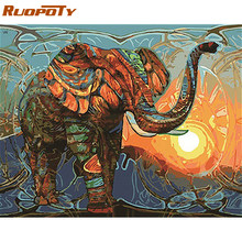 RUOPOTY frame DIY painting by numbers kit Elephant animals paint by numbers modern wall art picture for home decor artwork 60x75(China)