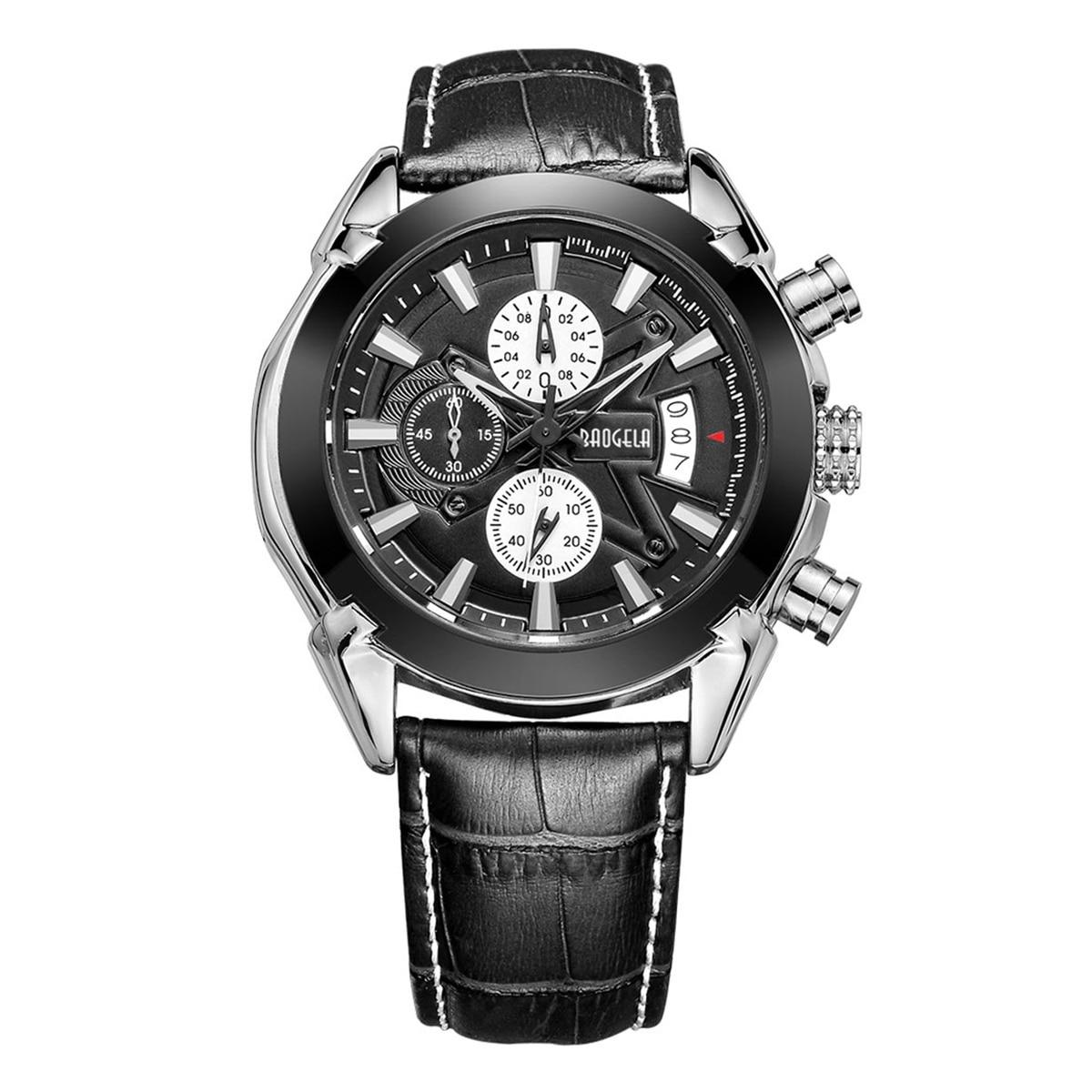 BAOGELA Mens Chronograph Luminous Hands Date Indicator Fashion Causal Leather Strap Sport Quartz Wrist Watches 1602 Black все цены