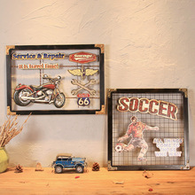 American Route 66 Diner Motel Gas Garage Metal Signs Soccer Football Basketball Baseball Wall Art Painting
