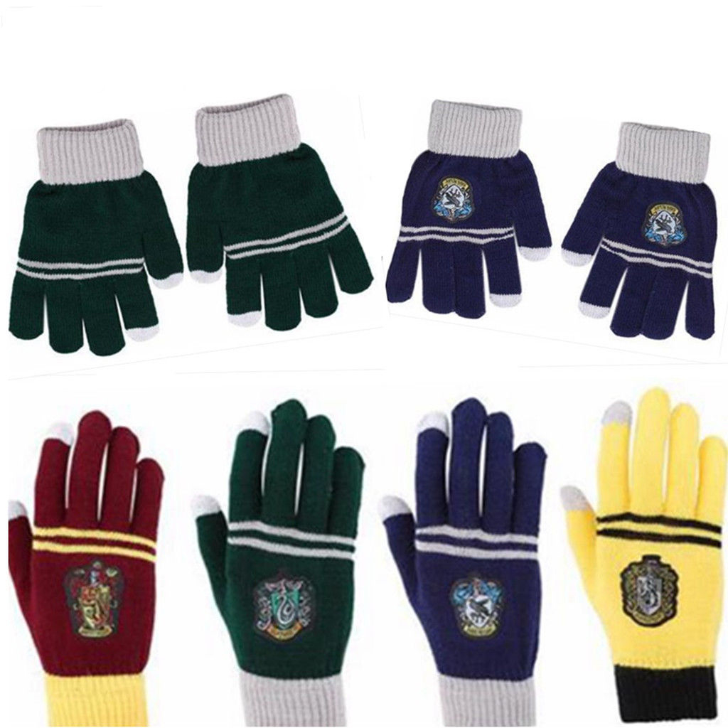 Harri Potter Hogwarts Winter Gloves Gryffindor/Hufflepuff/Slytherin/Ravenclaw House Warmth Deathly Hallows New