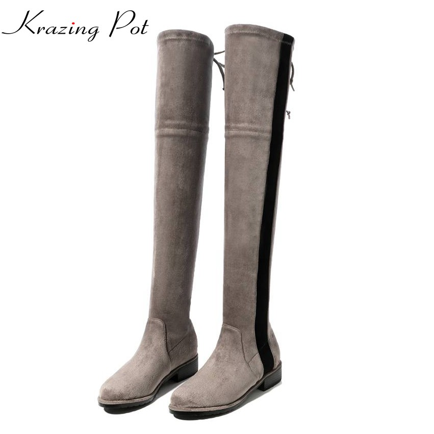 Krazing pot flannel mixed color stretch boots bowtie winter keep warm low heels thin legs beauty fashion over-the-knee boots L03 krazing pot flannel stretch boots winter keep warm wedges high heels leisure long legs beauty fashion over the knee boots l31
