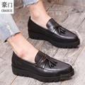 Pure Color Decent Soft Leather Pendant Men Shoe Men Shoes Luxury Brand Shoes Full Grain Leather Fringe Unique Hidden Heel