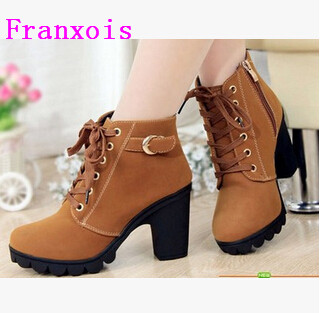 Franxois Autumn winter women new plus velvet short boots thick heels wild black matte female korean OL Martin boots XZ03 martin new winter with thick british style short canister female fall side zipper boots