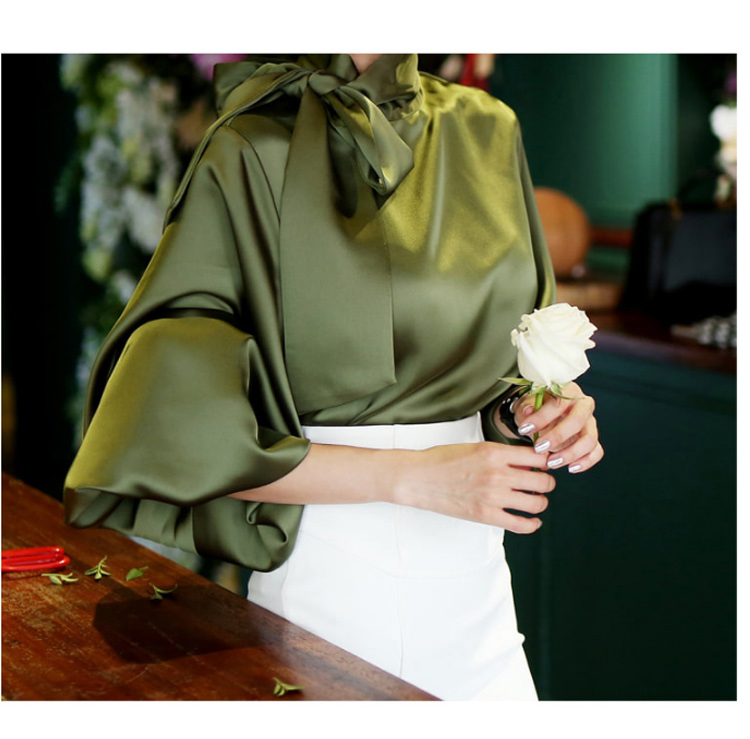 2019 Spring Women Blouse Korean Office Lady White Chiffon Long Lantern Sleeve Bow Shirt Casual Loose Stand Collar Blouse (5)