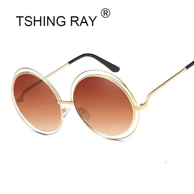 TSHING RAY Vintage Surdimensionné Ronde lunettes de Soleil Femmes Marque  Designer En Métal Grand Creux Cadre 857a976a2440