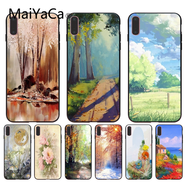 Half-wrapped Case Maiyaca Forest Moon Black Tpu Soft Rubber Phone Cover For Iphone X 8 8plus And 5 5s 6s 6s Plus 7 7plus Mobile Phone Cover To Be Renowned Both At Home And Abroad For Exquisite Workmanship Skillful Knitting And Elegant Design