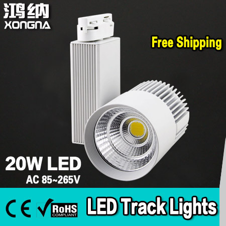 Free Shipping 20W COB LED Track Lights with Epistar LED Chip Commercial Lighting 2 Years Warranty