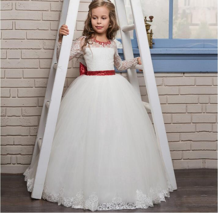 2018 Cute First Communion Dress For Girls Jewel Lace with Red Bow Tulle Ball Gown Long Sleeve Flower Girl Dresses White Custom adorable fuchsia kids flower girls dresses 2018 long sheer jewel neckline lace satin ball gown custom any size