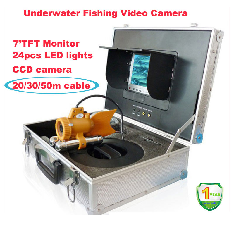 Waterproof Underwater Fishing Camera,Fish Camera With Color LCD 24pcs led lights,Fish Finder 30M Cable
