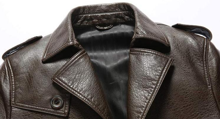 AILOOGE Autumn Winter Leather Clothing Genuine leather Fashion Man Medium style Slim wind coat Casual jacket Men Tops lederen