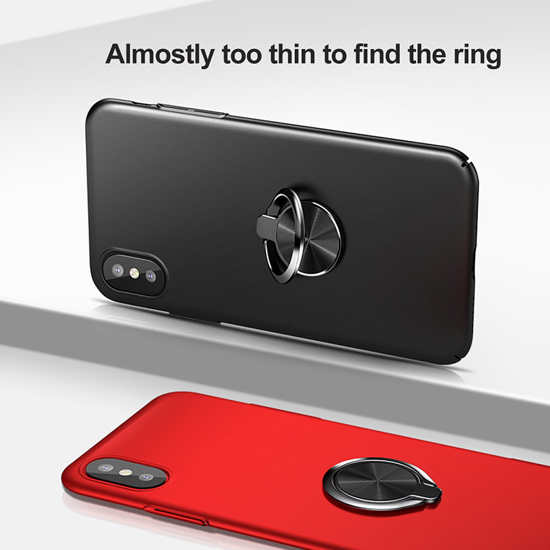 huge selection of a167b a0789 US $8.47 31% OFF|Baseus Metal Ring Holder Phone Case for iPhone X Ultra  Thin Back Luxury Silicone for iphone X Luxury Phone Bag Case For iPhoneX-in  ...