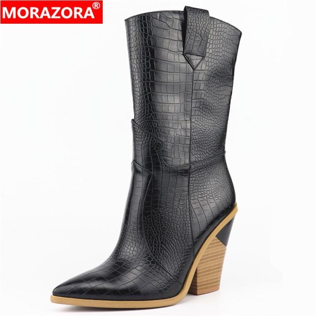 MORAZORA Thả tàu thương hiệu phụ nữ khởi động toe nhọn nêm thời trang trung calf boots Sợi Nhỏ da Phương Tây mùa thu khởi động mùa đông
