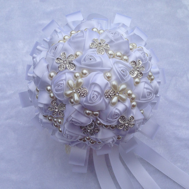 Shipping New Flower accepts custom pearl diamond white ribbon ...