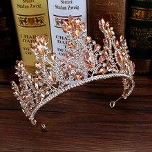TIARA nupcial rosa con cristales y perlas, diadema Floral con diamantes de imitación para boda, diadema de novia, adorno para el pelo, joyería