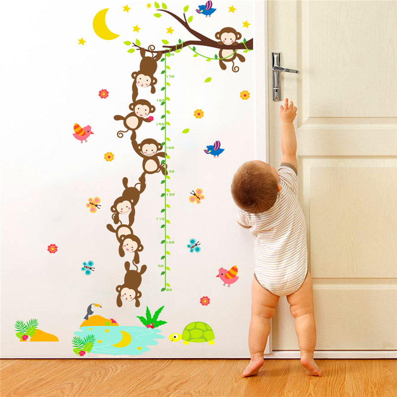 Monkeys Fishing The Moon Growth Chart Wall Stickers For Kids Room
