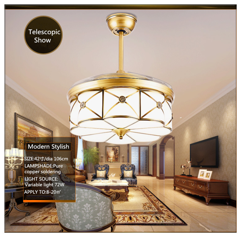 Modern Bronze Elegant Round Shaped LED Ceiling Fan Lights with Fanaway Retractable Blades