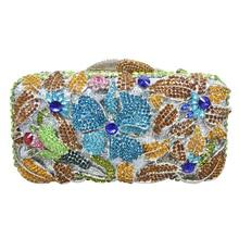 LaiSC Strass Frauen Luxus Abendtasche Gold Rose Blume Kupplung Tasche Handtaschen Weibliche Pochette Prom Geldbörse SC238
