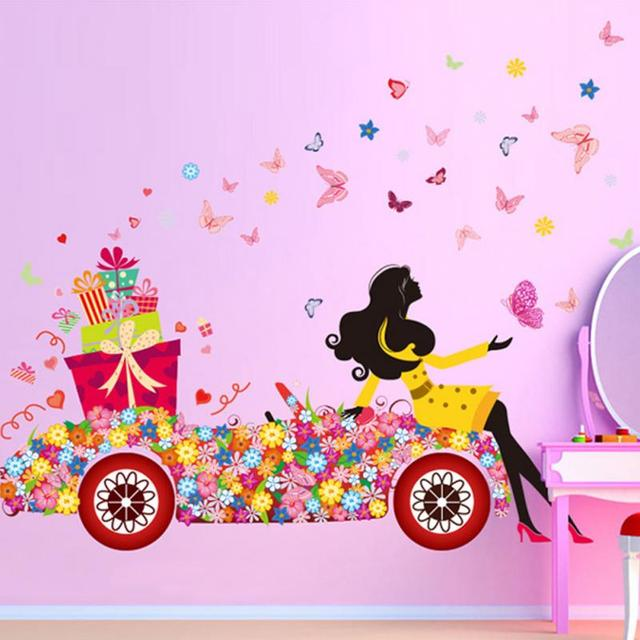 Flower girl presents wall stickers art decal wallstickers home decor mural wall post pd