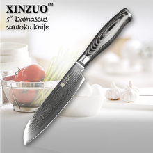 XINZUO 5″inch Japan chef knfie VG10 73 layers Damascus steel kitchen knives chef santoku knife forge wood handle free shipping