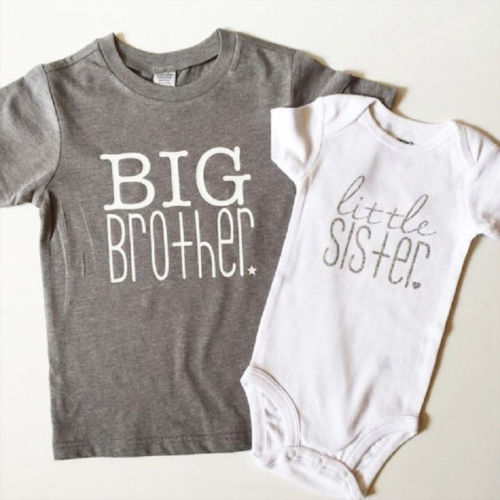 680bbe1fbe Cute Kids Boys Big Brother Tops T-shirt Baby Girls Little Sister Bodysuit  Romper Family Matching Suit