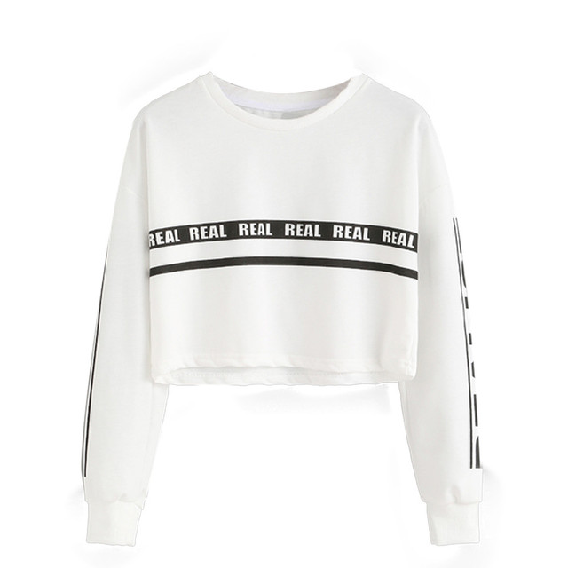 2017 neue ankunft bts frauen hoodies kurze casual Weiß Brief Drucken Ernte  Sweatshirt Top uptops Oansatz f4c08111d5