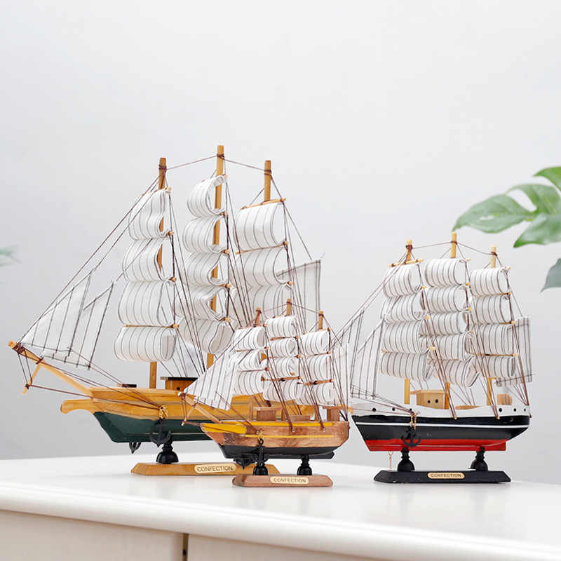 GEEFSU-Ship Model Christmas Ornament Wooden Sailboat Model Handmade Crafts Fishing Boat Home Desktop Decoration