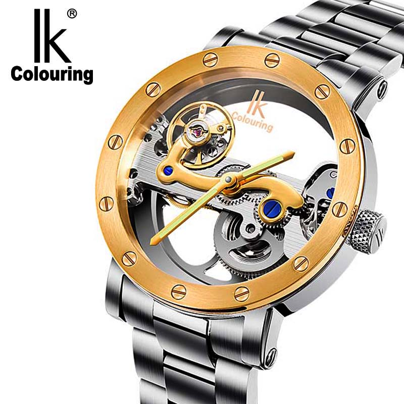 IK colouring automatic mechanical watch double-sided hollow steel tide male table 50 meters waterproof men's watches authentic ik two sided hollow automatic mechanical watch male table through the end of the dragon personalized men s watch