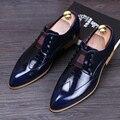Vestidos del banquete de boda de lujo de los hombres zapatos de cuero de vaca oxfords resbalón de patrón a cuadros plana zapato point-dedo del pie de los holgazanes zapato hombre