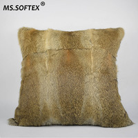 MS.Softex Natural Rabbit Skin Pillow Case Genuine Rabbit Fur Pillow Fur Cushion Fur Pilllow Cover Factory OEM FREE SHIPPING