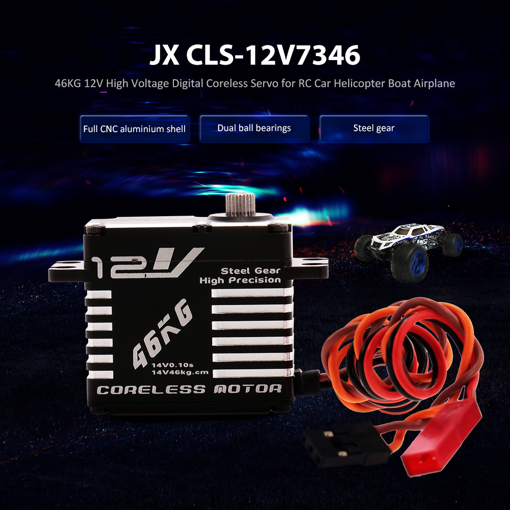 JX Servo CLS 12V7346 46KG 12V Aluminium Digital Coreless for RC Car RC Helicopter RC Boat