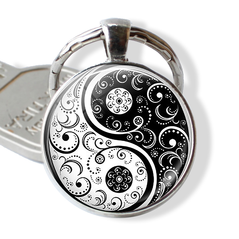 Chinese Taoism Sign Key Chain Vintage Tai Ji Yin Yang Keychain Yin Yang Pendant Jewelry Accessories
