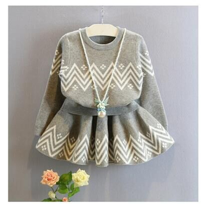 2018 New Children Clothing Set Girls Pullover Long Sleeve Striped Pattern T-shirt + Skirt Set Kids Baby Spring Autumn Suit
