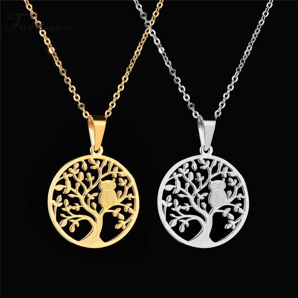 FairLadyHood ผู้หญิงเสื้อกันหนาว Chain Tree Of Life จี้และสร้อยคอกลวงรอบจี้เงินสร้อยคอผู้หญิงเครื่องประดับ