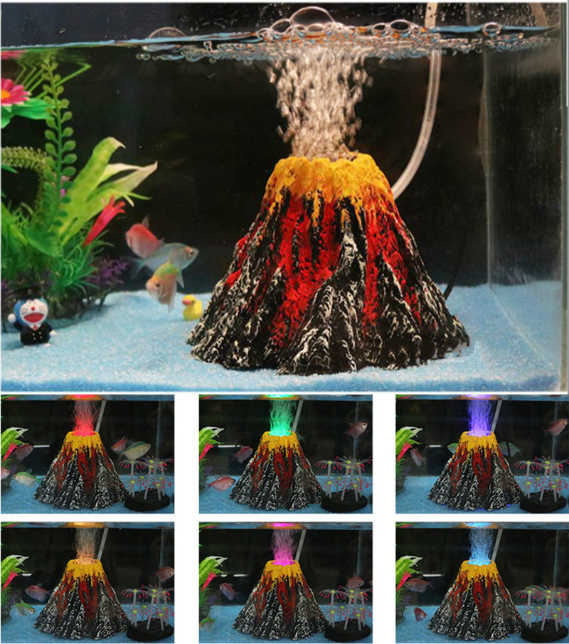 New Fashion Aquarium Volcano Stone Decoration Fish Tank Bubble Volcano Eruption Aquarium Ornament Used With Air Pump Led Light