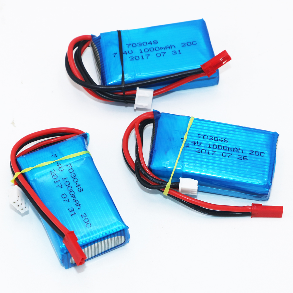 3pcs/lot For WLtoys V262 V353 V912 Battery 7.4V 1000mAh 20C 2S Li-Po Battery for RC Helicopter Quadcopter wholesale 1pc 7 4v 1000mah li po battery for wltoys v262 v333 v353 v912 v915 ft007 devo4 mjx x600 rc helicopter hot sale