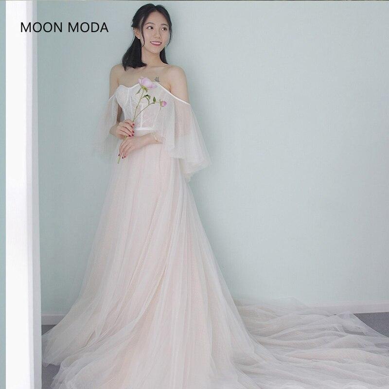 MOON MODA Half sleeve strapless white lace wedding dress ...