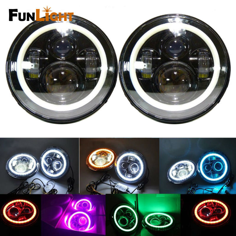"7 Inch Round Black Housing light 7"" LED Headlights white Halo Angle Eyes with Turn Signal For"