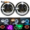 """7 Inch Round Black Housing light 7"""" LED Headlights white Halo Angle Eyes with Turn Signal For jeep Wrangler JK TJ 97-15 Defender"""