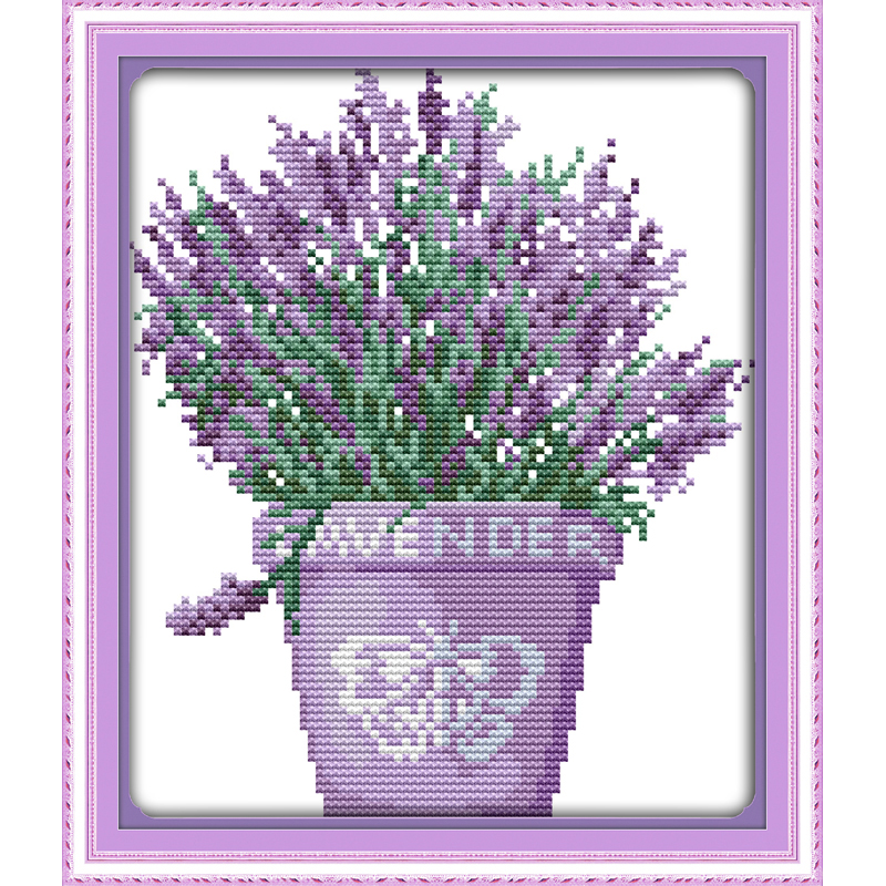 Everlasting love Lavender plants Chinese cross stitch kits Ecological cotton Fabric DIY 11CT christmas decorations for home gift