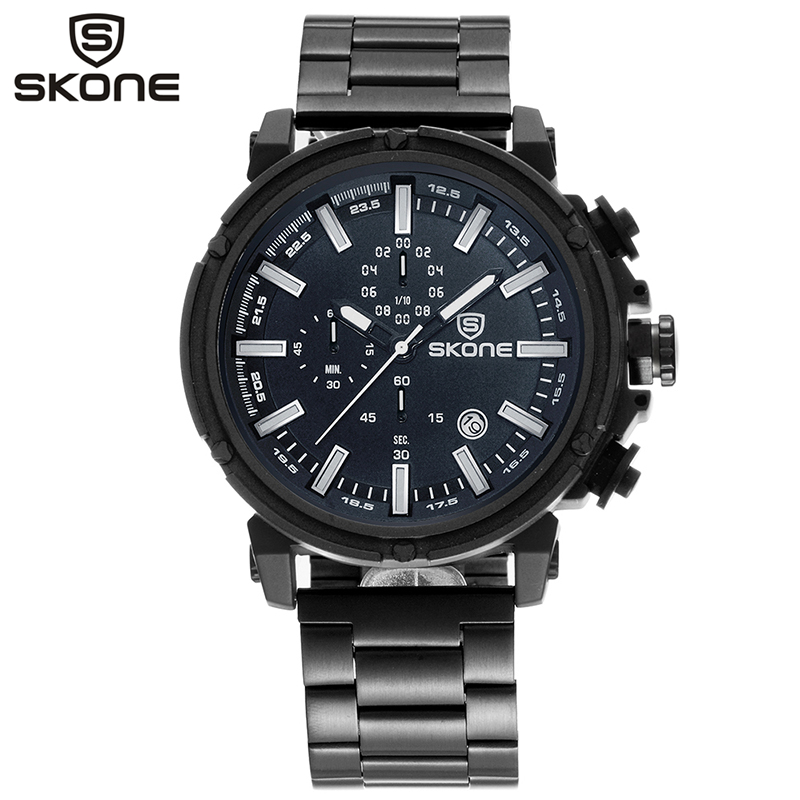 SKONE Analog Quartz Watch Men Military Stainless Steel Chronograph Auto Date Man Wristwatch Montre Homme Relogio Masculino 7449 mens stainless steel band watch with big round dial male analog quartz metal sports wristwatch relogio masculino montre homme